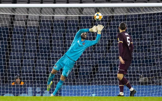 Hearts goalkeeper Craig Gordon in action against Hibs in the Scottish Cup 2019/20 semi-finals