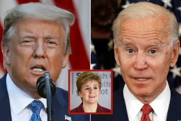 Nicola Sturgeon, inset, believes the race between Joe Biden, right, and Donald Trump will be crucial to America