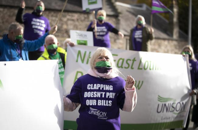 Sturgeon 'absolutely committed' to new NHS pay deal as Unison protest