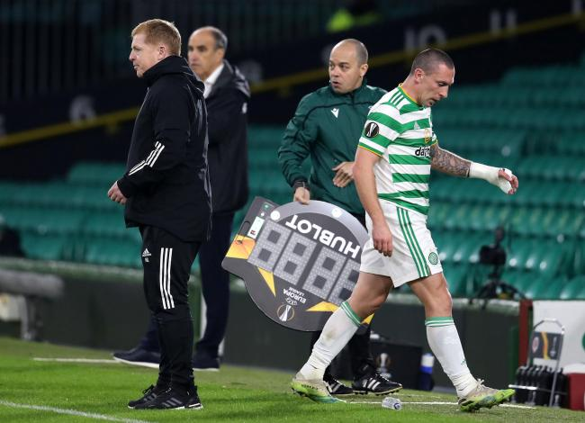Scott Brown troops off after being substituted against Sparta Prague.