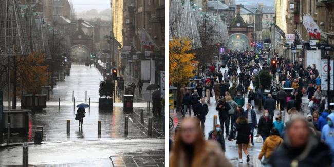 Pictures: Glasgow high streets deserted on first day of level 4 restrictions
