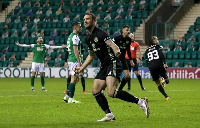 Celtic defender Shane Duffy celebrates Diego Laxalt's goal against Hibernian. Photo: Andrew Milligan/PA Wire.