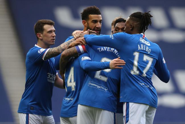 Rangers' Ryan Kent (third left) celebrates scoring his side's first goal of the game with team-mates during the Scottish Premiership match at Ibrox