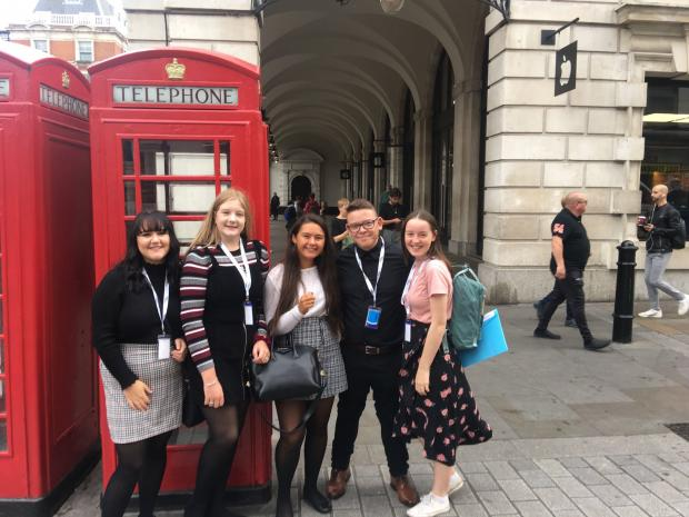 Glasgow Times: Hayden Atkin and Ellie Craig (right) on a trip to London with their friends before Covid-19