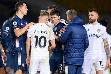 Ex-Celtic star Kieran Tierney branded an 'idiot' after Arsenal vs Leeds flashpoint