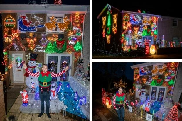 Dad decks house out with 25,000 Christmas lights to raise money for charity