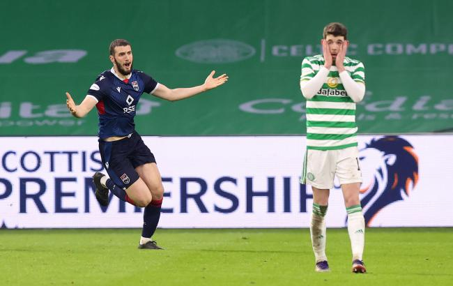 Ryan Christie can't believe it as Alex Iacovitti doubles Ross County's lead over Celtic.