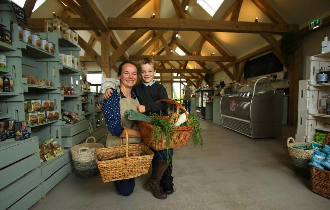 Emma Smith with her son Rory at the Heron Farm Shop and Kitchen. Pic: Colin Mearns