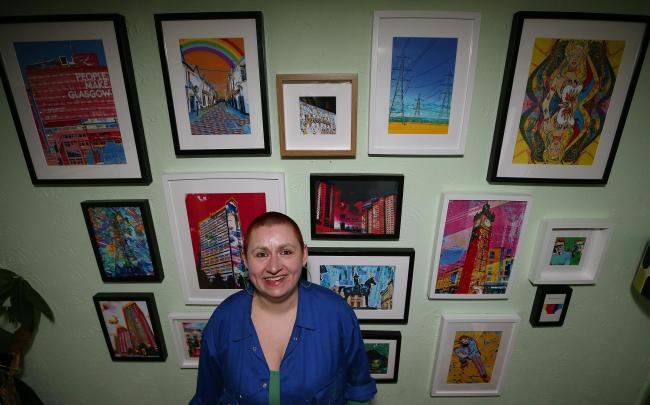 Artist Cat Downing at her Gartcosh studio where she produces a range of artworks as Paints Pylons. STY ANN/'FOR HER'.Pic Gordon Terris/Times.16/11/20.