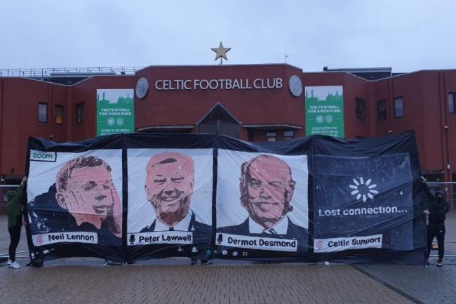 The banner placed outside Celtic Park by the Green Brigade