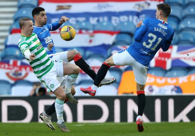 Leigh Griffiths went close for Celtic, but couldn't find a way past Rangers keeper Allan McGregor.