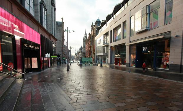 Glasgow Times: A quiet Buchanan Street yesterday, the day Glasgow was placed back into lockdown