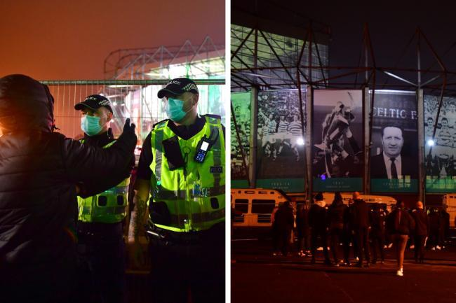 Duo allegedly broke through cordon and threw items at police at Celtic Park protest