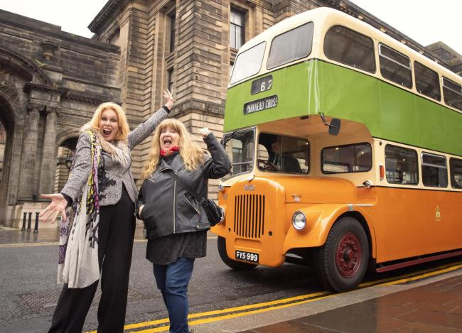 From Burning Bright Productions JOANNA LUMLEY'S HOME SWEET HOME - TRAVELS IN MY OWN LAND Ep2 Tuesday 9th February 2021 on ITV Pictured Joanna Lumley (left) visits Glasgow and rides an vintage Corporation Bus on a tour of the city with local c
