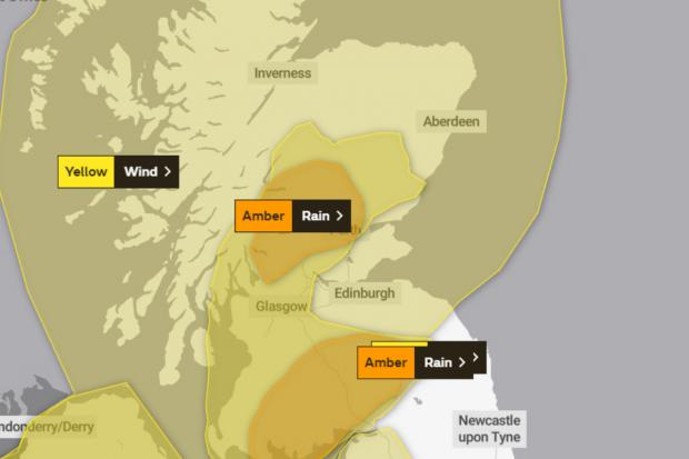 Glasgow Times: Map showing yellow weather warning for wind courtesy of the Met Office