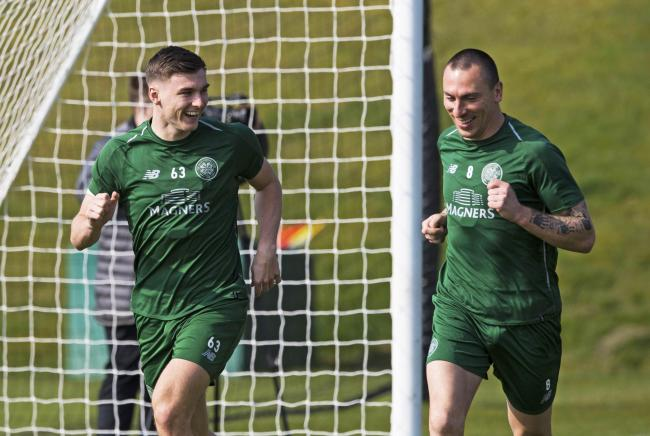Kieran Tierney, left, and Scott Brown during Celtic training in 2019.