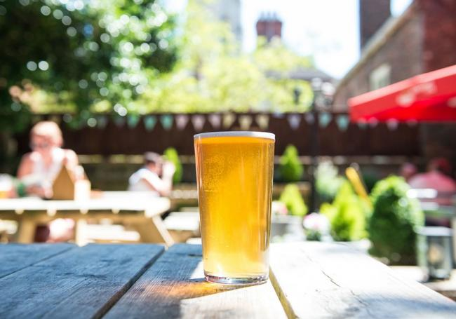 A pint in a beer garden