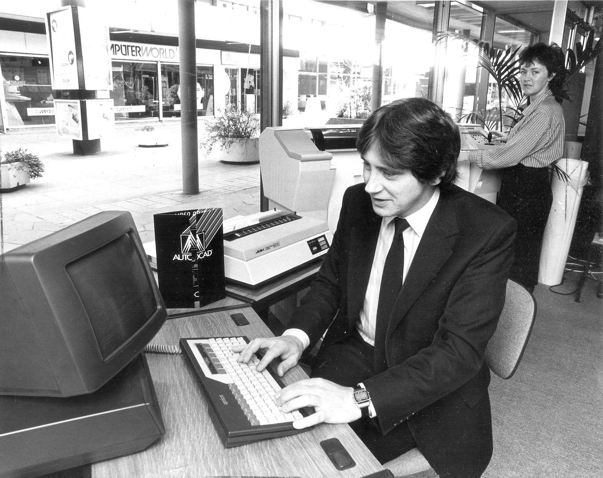 The Apricot PC at Microworld, Anderston Cross, 1985 Pic: Herald and Times