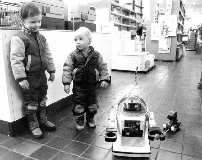 The Omnibot in 1984 at Habitat in Glasgow. and below, the Apricot PC, 1985. Pics: Herald and Times. Inset, the Sony Walkman.