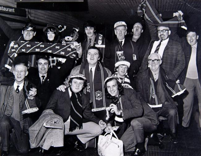 Celtic fans on their way to Amsterdam, March 1971
