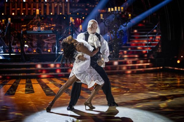 Glasgow Times: Oti Mabuse and Bill Bailey during a live show of Strictly Come Dancing. (BBC/PA)