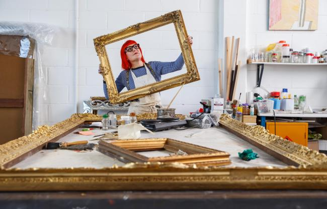 Sophie Kostin, frame restorer pictured in her studio in Glasgow...  Photograph by Colin Mearns.16 March 2021.For GT, see interview by Ann Fotheringham..