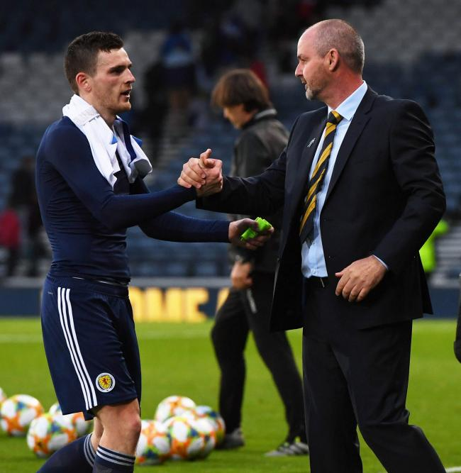 Andy Robertson, left, with Scotland manager Steve Clarke.