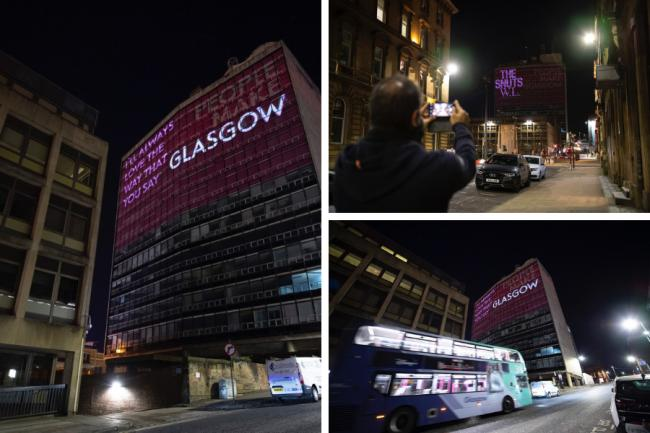 'The Snuts' projected onto 'People Make Glasgow' tower for Scots' debut album release
