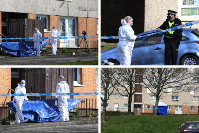 Forensic specialists and murder cops pictured scouring scene of suspicious Maryhill death