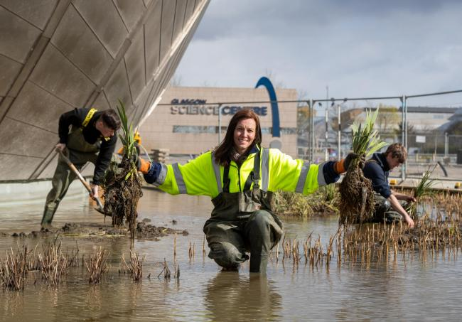 Dr. Gillian Lang, deputy director of science at the Glasgow Science Centre, photographed on site with Water Gems staff  James Molyneux & Stephen MacDonald where they are redeveloping the Science Centre's outdoor space and introducing wetlands