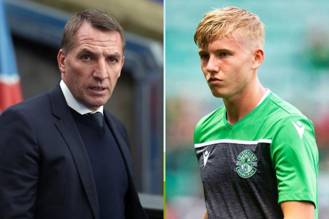 Leicester City manager Brendan Rodgers, left, and Hibernian youngster Josh Doig, right.