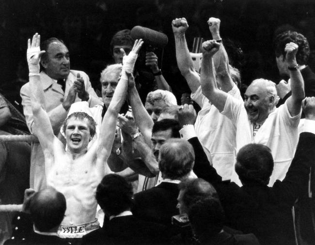 Boxer Jim Watt raises his arms in triumph after beating Alfredo Pitalua to become World Champion in 1979 Pic: Herald and Times