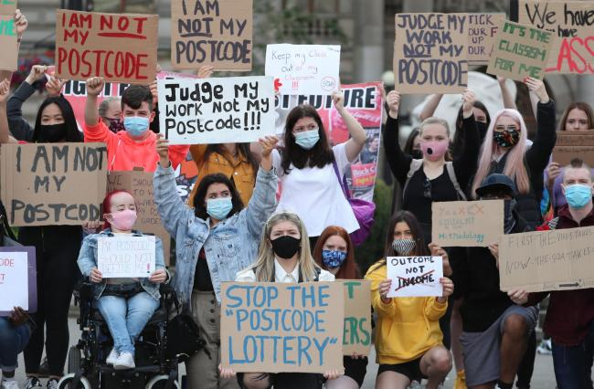 Protesters in George Square in Glasgow to protest against the Scottish Qualifications Authority (SQA) method of producing exam results last year  Picture: Andrew Milligan/PA Wire