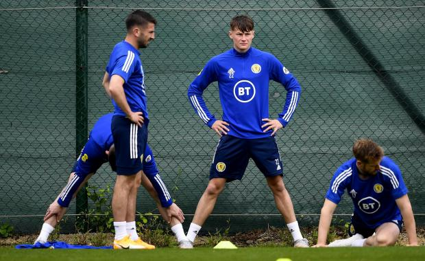 Glasgow Times: Nathan Patterson during a Scotland training session