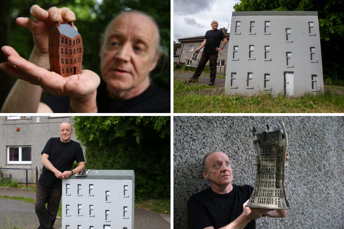 Why Nitshill man turned electricity box into Glasgow tenement model