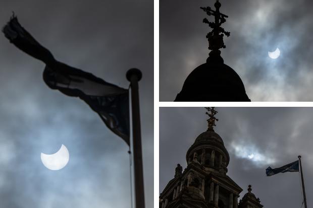 Glasgow eclipse: Onlookers get a glimpse of rare event despite clouds