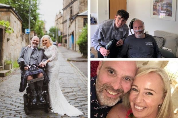 Groom battling MND marries bride in Glasgow ceremony after coronavirus restrictions lift