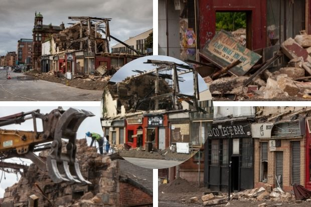Pictures show demolition of buildings near Old College Bar after High Street fire