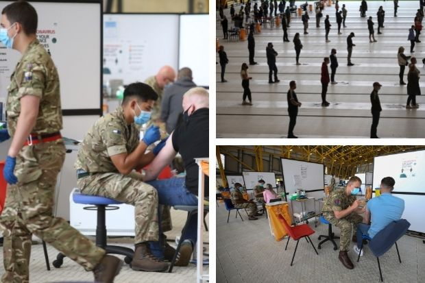 Pictures show military personnel administer coronavirus vaccine at Ravenscraig