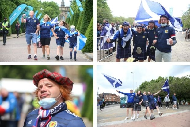 Pictures: Fans arrives at Glasgow Green for Scotland v Czech Republic