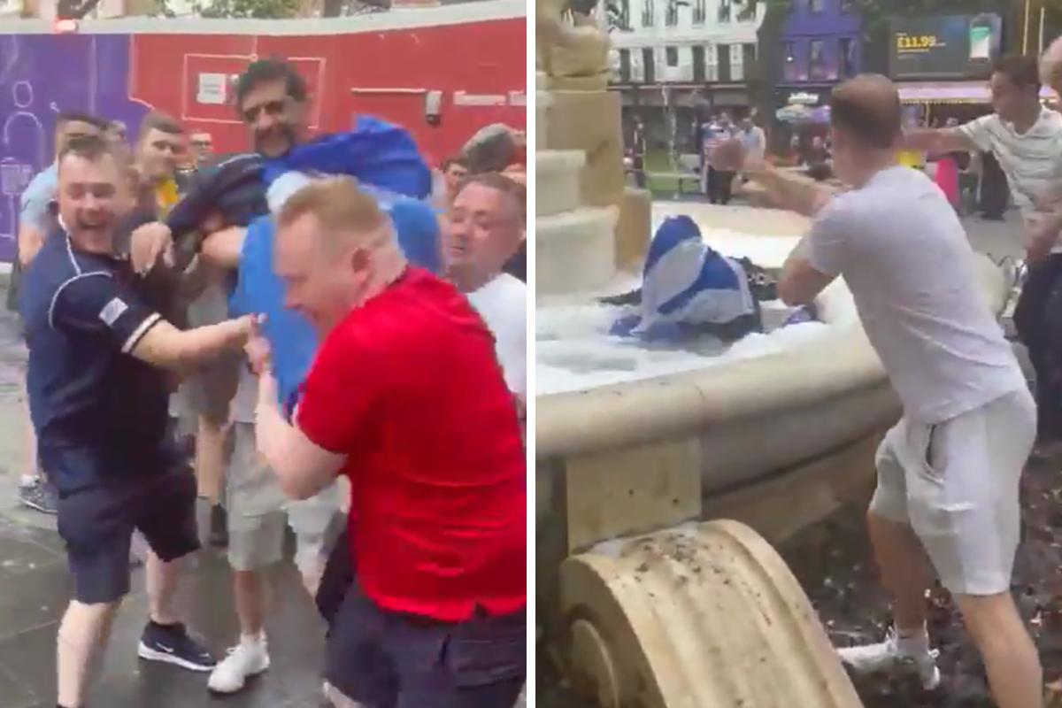 Scotland fans chuck fellow supporter into London fountain