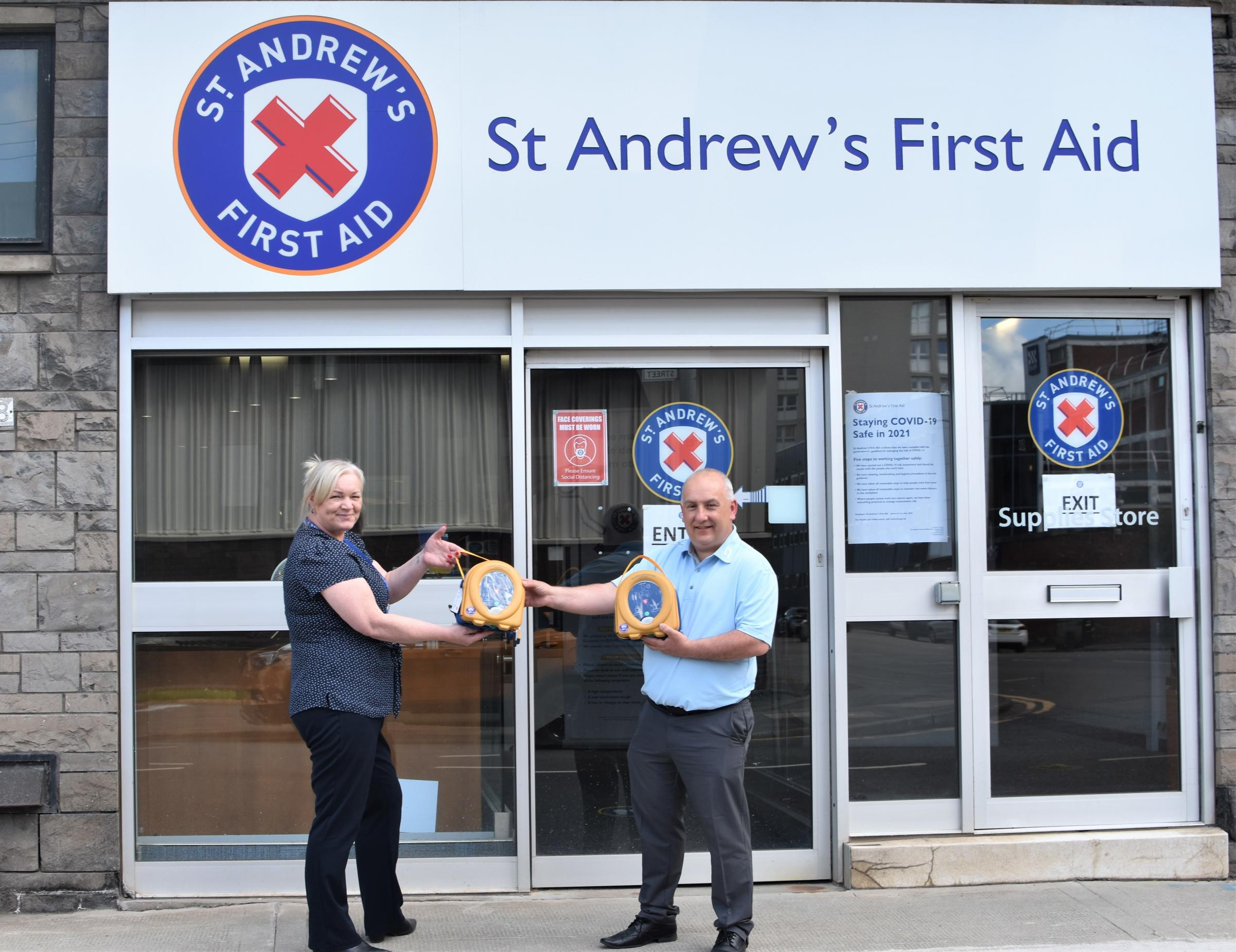 Defibrillators donated by St Andrew's First Aid to Keiran McDade Foundation