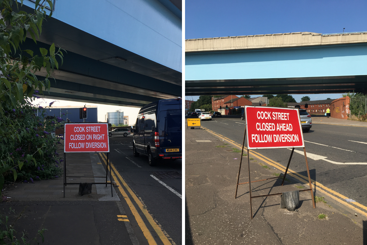 Spelling mistake on Glasgow road works sign leaves red faces