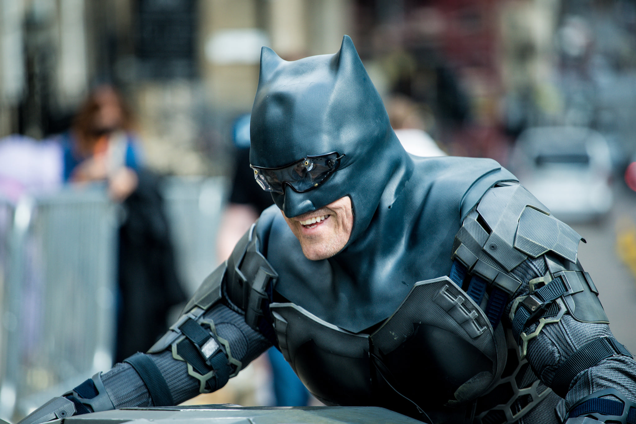 DC Comics character Batman smiles during The Flash filming in Glasgow