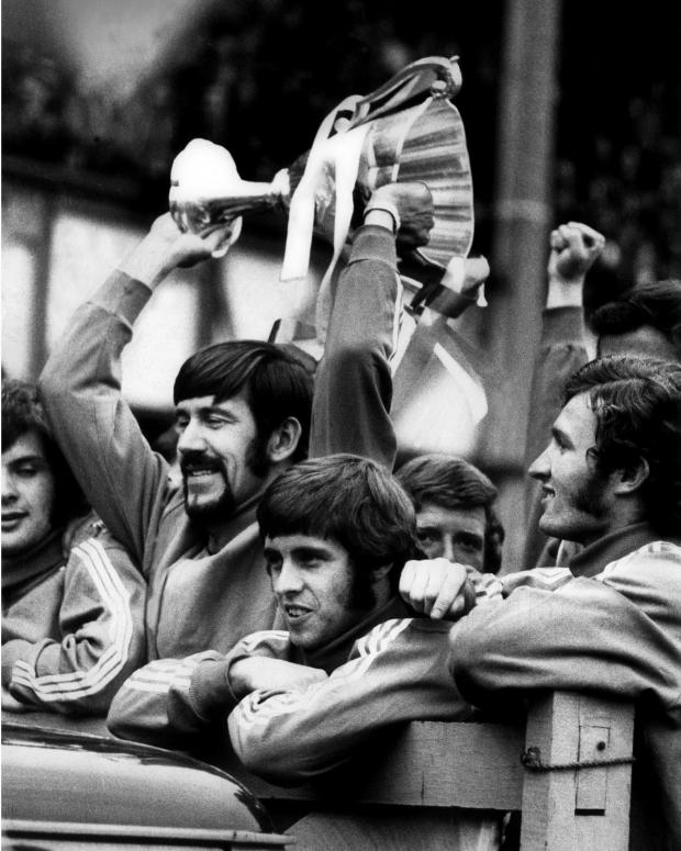 Glasgow Times: Rangers captain John Gregg lifted the European Cup-winning cup over his head during a ceremony at the Iberox Stadium on May 26, 1972.