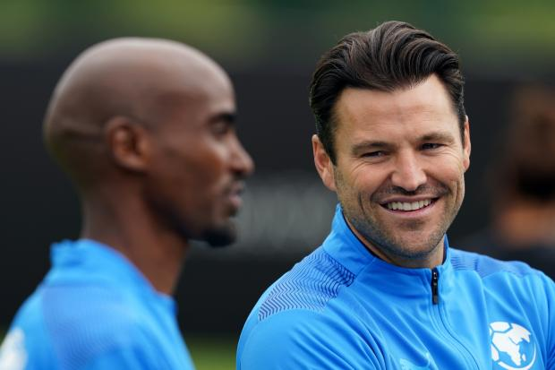 Glasgow Times: Sir Mo Farah (left) and Mark Wright in a training session before Soccer Aid 2021 (Martin Ricketts / PA Wire)