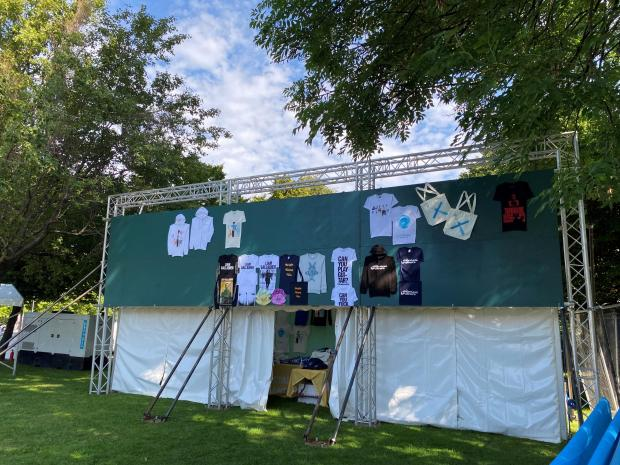 Glasgow Times: A on-site merchandise stall that includes Buffy Clyro and Liam Gallagher Goodies
