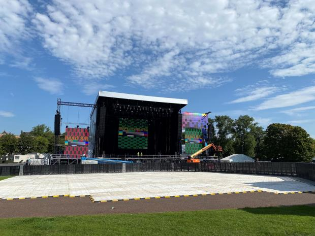 Glasgow Times: The main stage under construction at the TRNSMT Festival.