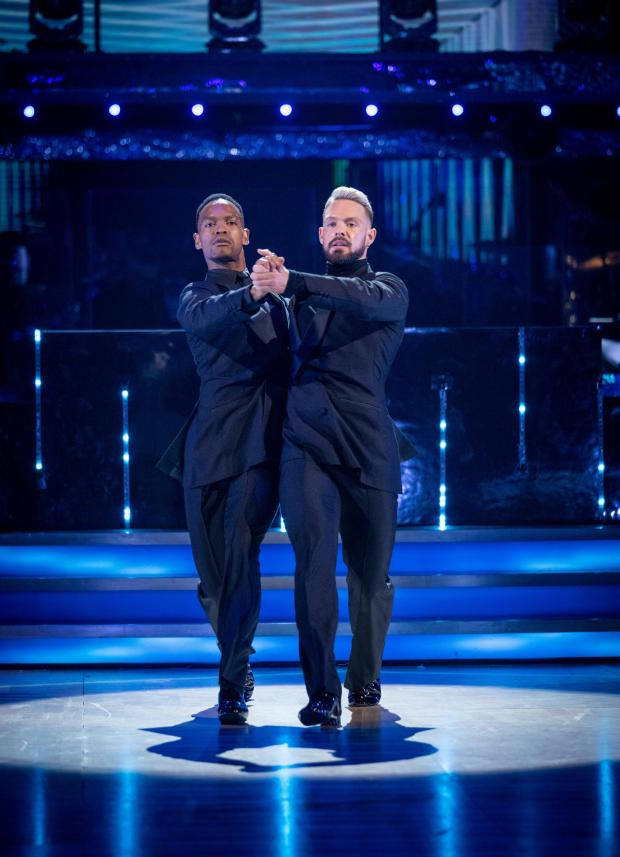 Glasgow Times: John White and Johannes Radeby run for the first installment of Strictly Come Dancing 2021 in costume.  Credit: PA