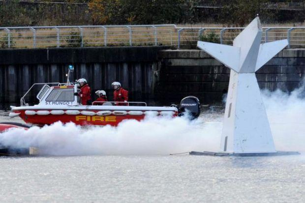 The realistic exercise saw a plane downed in the Clyde, with volunteers playing injured casualties and walking wounded